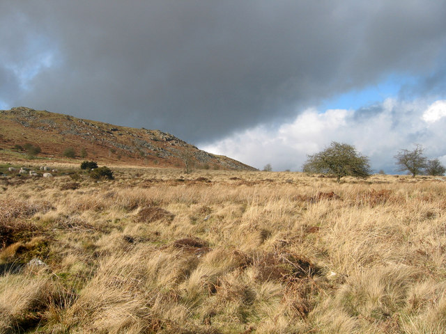 The rocky East side of Corndon Hill