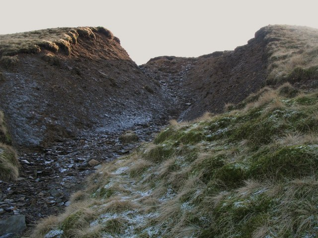 Frozen (dry) cleugh above Harthope Head