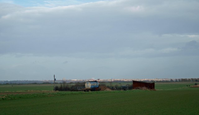Old road tanker and farm building off Clouds Lane near Beltoft