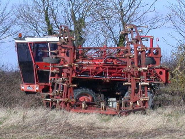 Farm machine in field