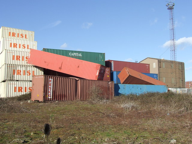 Toppled containers