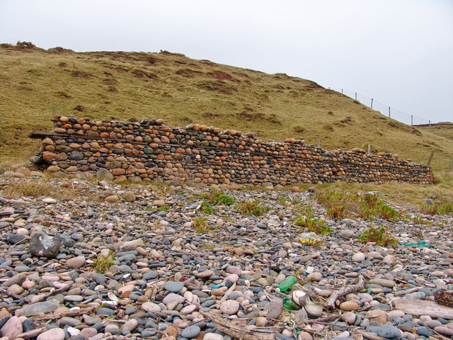 Littoral litter and battered boundary.