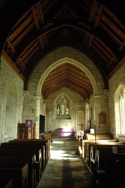 Interior of Woolstone church