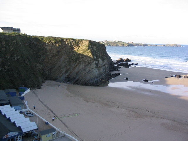 Lusty Glaze Beach, Newquay, on a sunny November morning