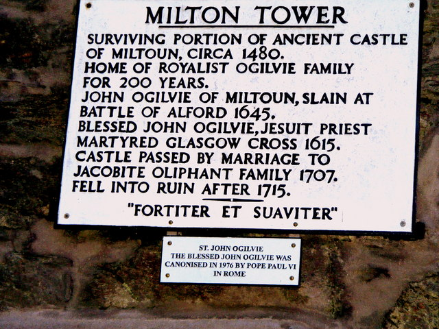 Plaque at Milton Tower