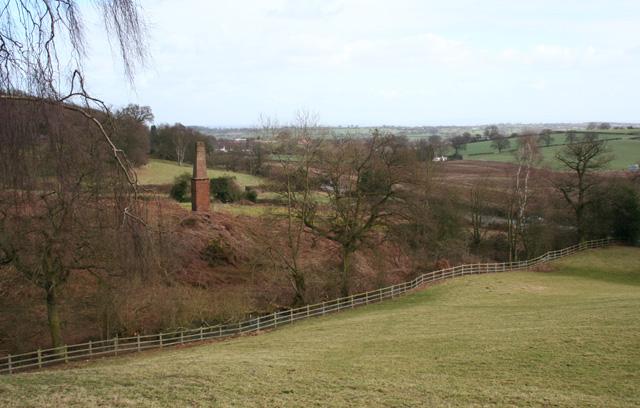 View towards copper mine chimney