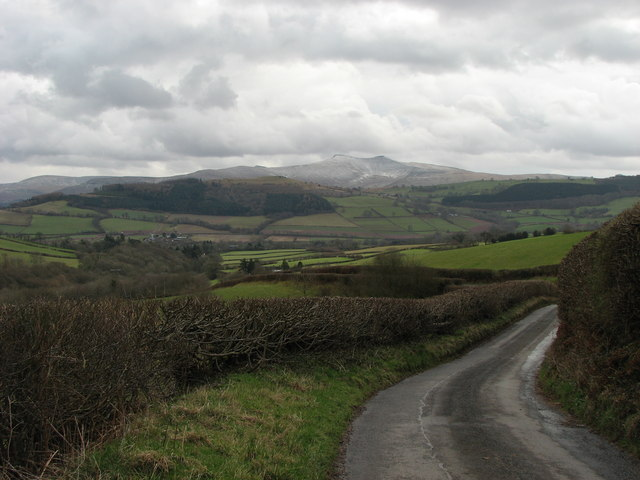 View across the Usk Valley towards the Brecon Beacons