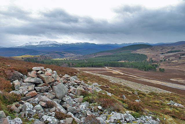 Small cairn and grouse moor above the Crathie to Gairnshiel road