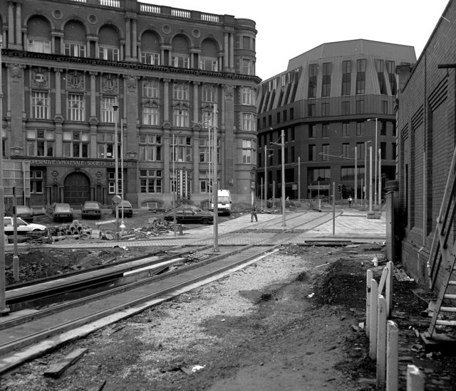 Across Long Millgate and Corporation Street to Balloon Street, Manchester