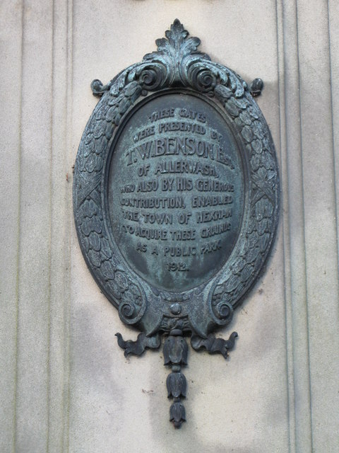Plaque on the southeast gateway to The Sele (2)