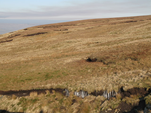 Icicles on the peat haggs below Ouston Band