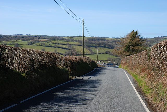 The B4342 approaching Llangeitho from the east