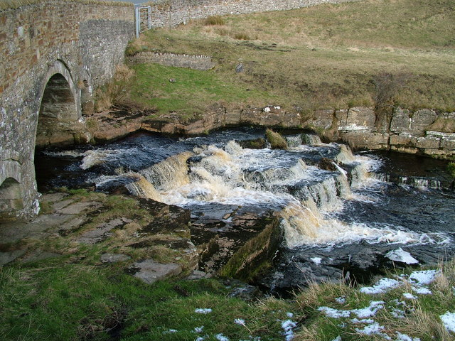 Bridge and falls on Deepdale Beck