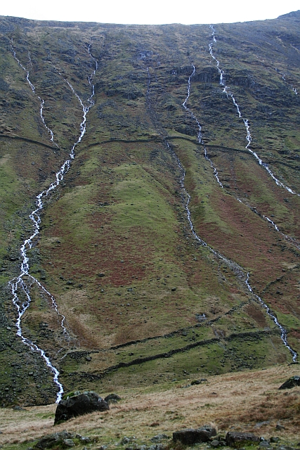 Streams in Spate on the West Flank of Glaramara