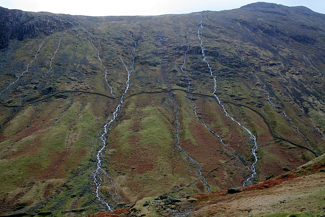 Streams in Spate on the West Flank of Glaramara (2)