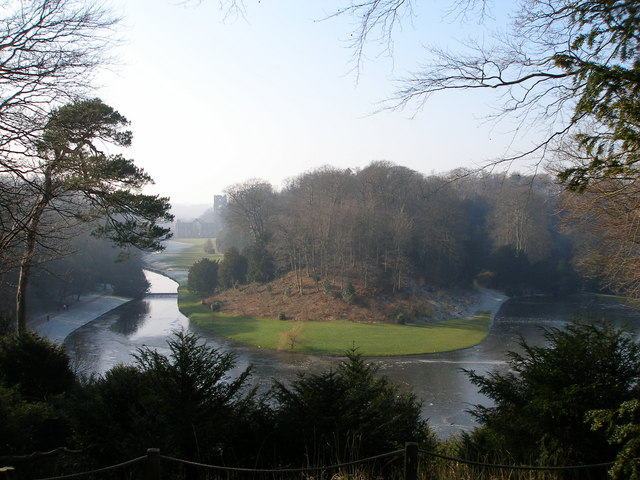 A wintery view of Fountain's Abbey gardens