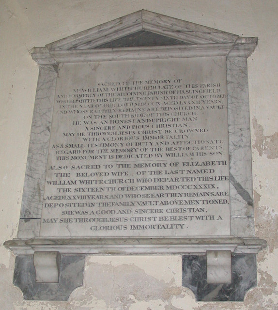 William Whitechurch memorial, Harston church
