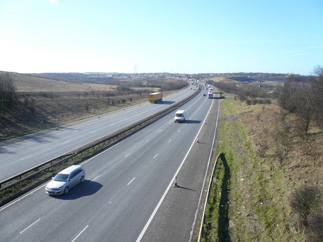 M1 South View from Farmtrack Bridge near Woodthorpe