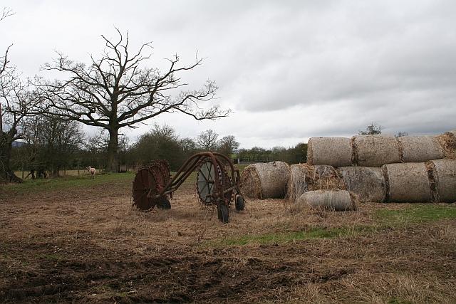 Old Straw Bales and Rotary Rake
