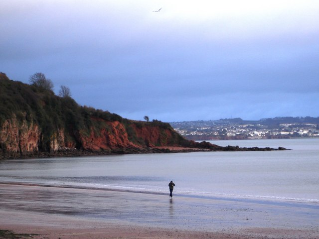 Lone jogger, Broadsands beach, Torbay
