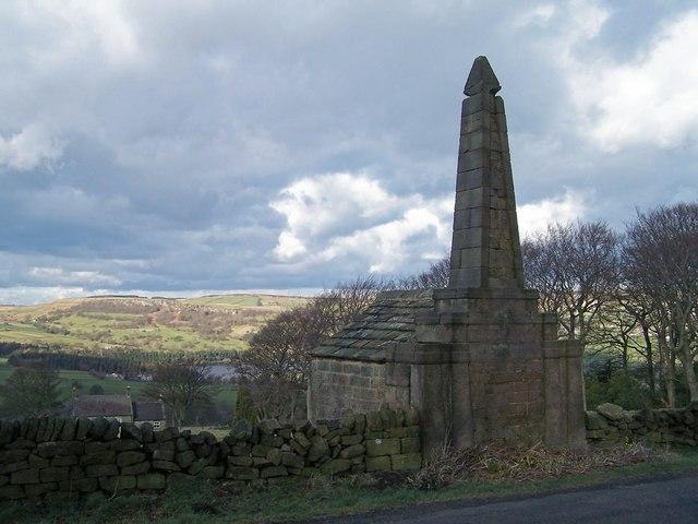 Memorial Obelisk with Agden Reservoir in background.