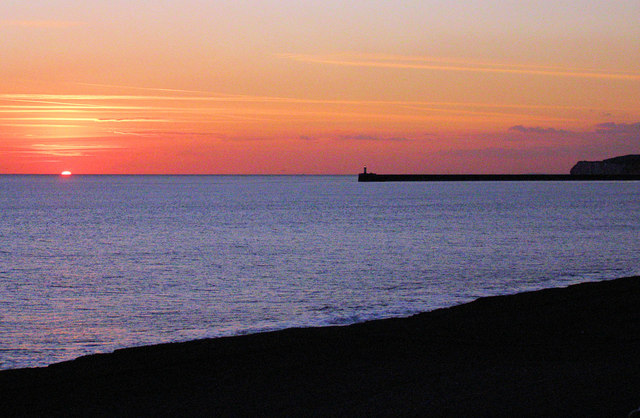 A March sunset over Seaford Bay