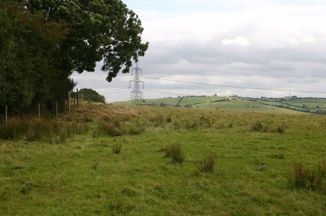 Hillside and pylon above Dry Leys farm