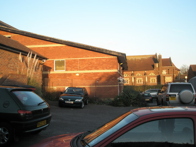 Rear of doctors' surgeries and Methodist Church, Drayton