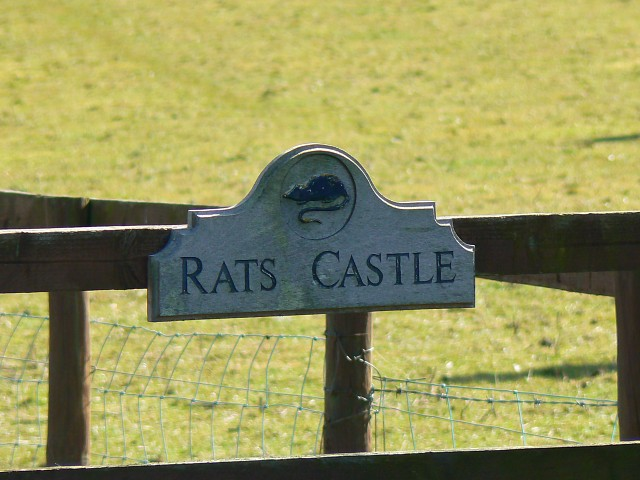 Sign at entrance to Rats Castle, near Harnhill