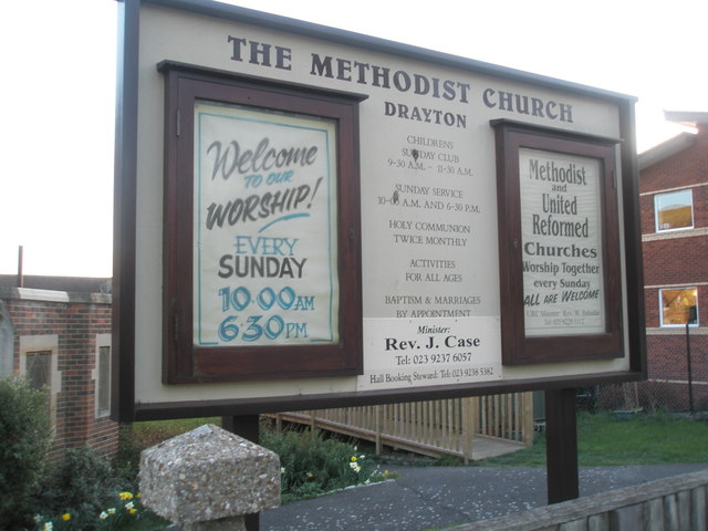 Welcome board at Drayton Methodists