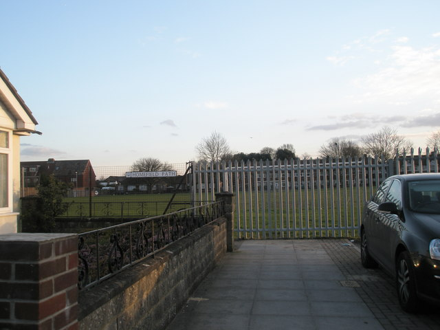 Playfield behind secure fence at Springfield School, Drayton