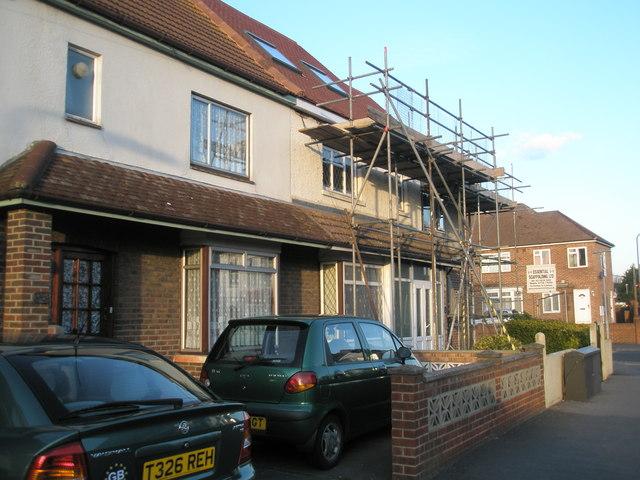 Scaffolding in Grove Road, Drayton