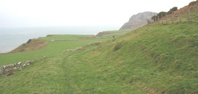 Footpath from Pistyll towards Carreg y Llam on National Trust land
