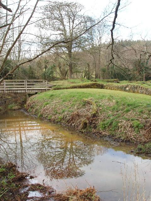 Penhallam Manor moat with bridge