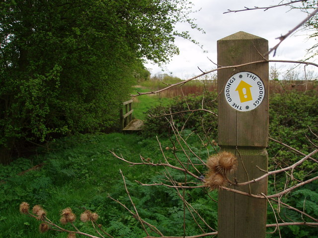 Footpath waymarker Great Gidding
