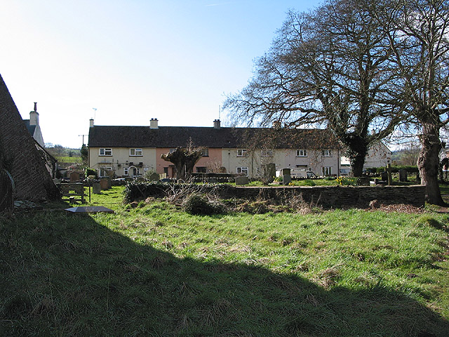 Row of cottages with churchyard view, Skenfrith