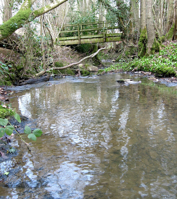 Stream and footbridge near Venus Bank