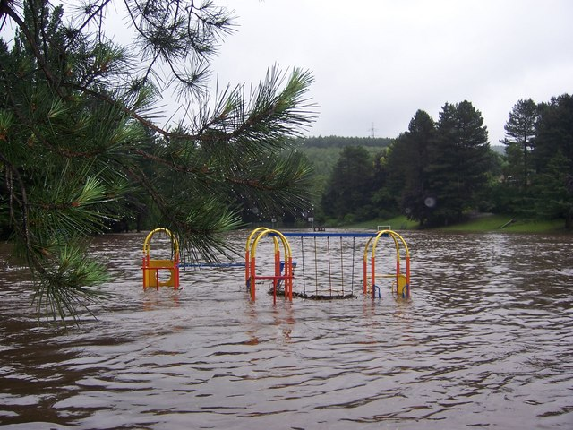 Playground during the Oughtibridge Flood