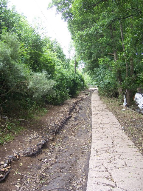 Flood damaged path leading to Oughtibridge Cricket Ground