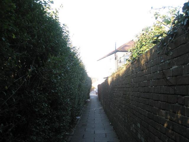 Alley from railway bridge linking Salisbury Road to Windsor Road.
