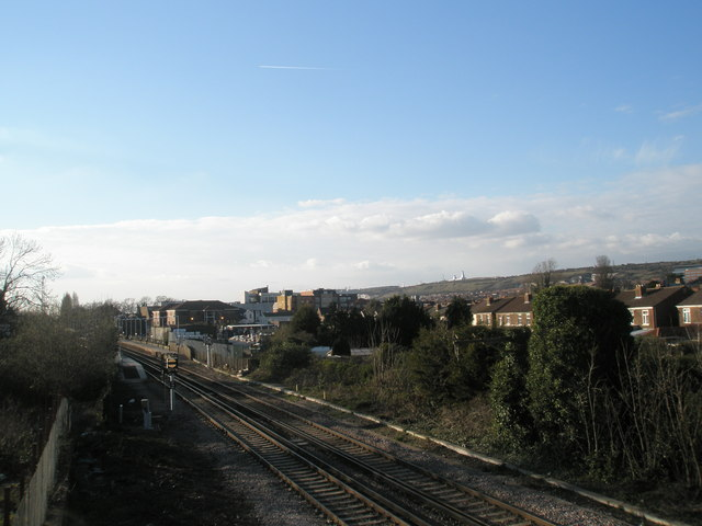 Standing on the bridge looking towards Cosham Station