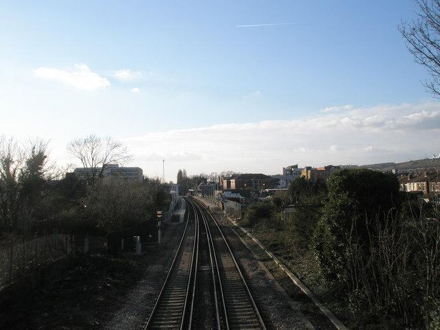 Platforms at Cosham Station seen from the bridge