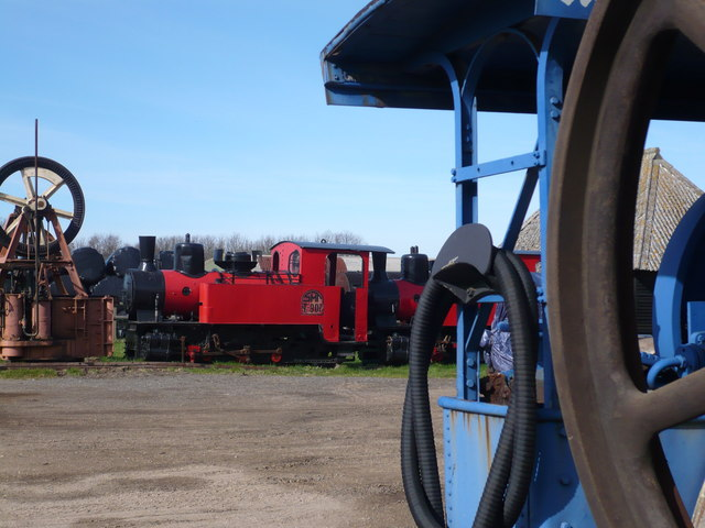 A steam engine in the farmyard of Preston Court Farm