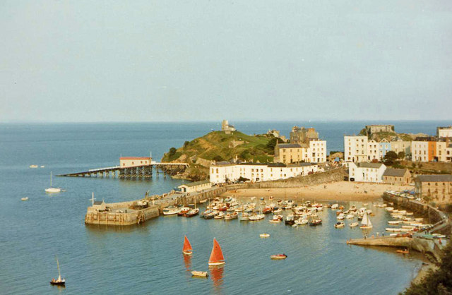 Tenby Harbour with Castle and Lifeboat Station taken from Gatehouse