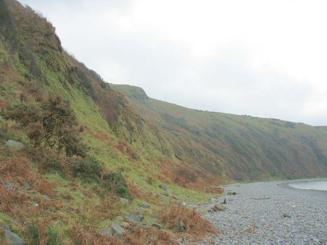 Slumped boulder clay cliffs below Gallt y Bwlch