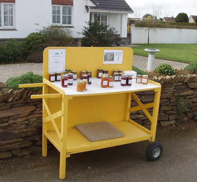 "Jam and pickle ""honesty box"" stall, Marshgate"