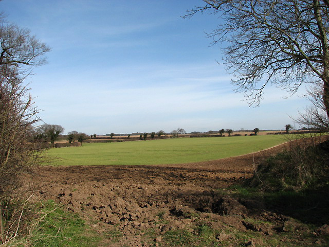 View northeast across fields