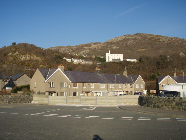 Promenade council estate with Hendre Mynach Hotel behind