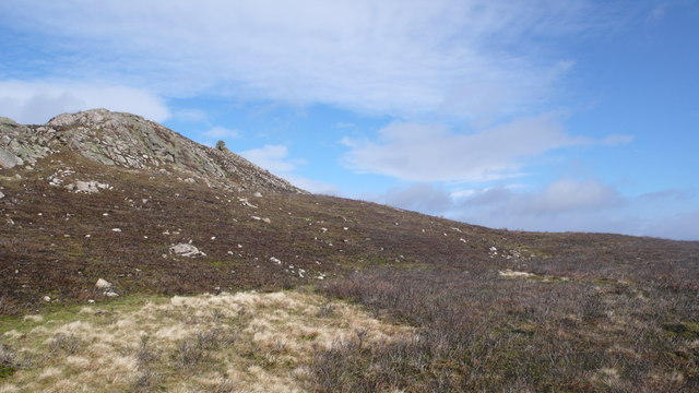 Burnt heather and hilltop cairn