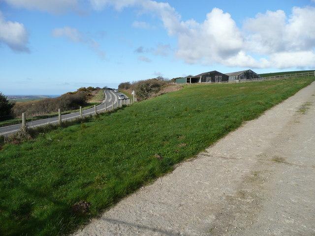 Farm buildings by the A39